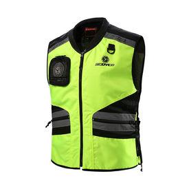 Scoyco JK32 Adjustable Reflective Vest-Black & Green Size
