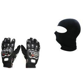 Combo Offer - Pro Biker and Balaclava - Black - Size (XL)