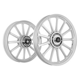 Kingway SR1F 13 Spokes Bike Alloy Wheel Set of 2 19/19 Inch CNC Silver-Royal Enfield Standard 350 Twin Spark