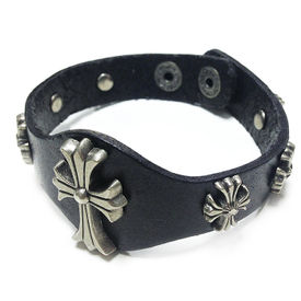 Jazzmyride Leatherette Men's Wrist Band Bracelet-7CP Cross Patonce