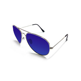 Jazzmyride 3026PB Blue Reflective Aviator Polarized Sunglasses-Chrome
