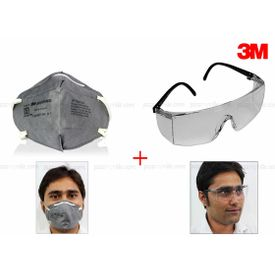 Combo of 3M Full Eye Cover Bike Riding Goggles + Anti Pollution Face Mask