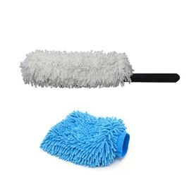 Combo Of Microfiber Duster+Microfiber Glove Mitt For Car Dry / Wet Cleaning