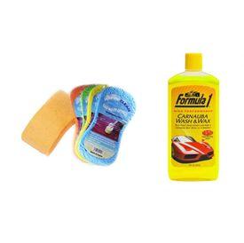 Formula 1 Car/Bike Wash and Wax Shampoo 473ml + Speedwav Magic Sponge
