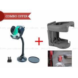 Car Combo Fly Mobile/GPS Holder + Speedwav Foldable Car Drink Holder-Grey