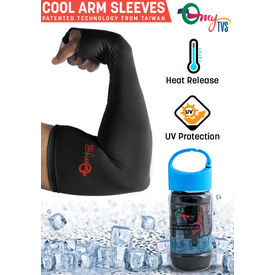 myTVS Magic Cooling Arm Sleeves for Heat/UV Protection-Black