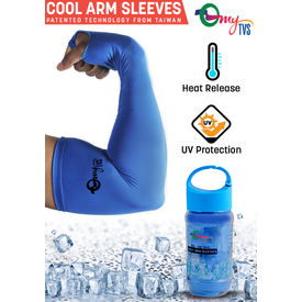 myTVS Magic Cooling Arm Sleeves for Heat/UV Protection-Blue