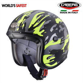 Caberg Freeride Commander Matt Green/Yellow Flou Open Face Helmet