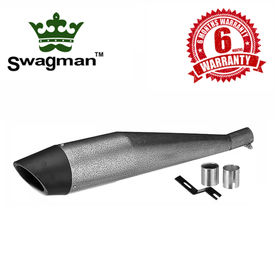 Swagman Dolphin-Premium Antique Silver with Black Tip Exhaust for Royal Enfield