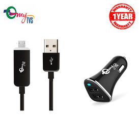 myTVS 2.4 Amp TI-10 2 ports Black Car Mobile Charger with TC-29 Micro USB Black Fast Charging Data Cable with LED Indicator for Android (1 mtr)