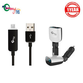 myTVS 3.4 Amp TI-13 2 Ports Black Car Mobile Charger with Voltage Indicator and TC-29 Micro USB Black Fast Charging Data Cable with LED Indicator for Android (1 mtr)