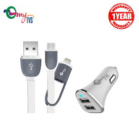 myTVS 2.4 Amp TI-10 2 ports White Car Mobile Charger with TC-33 2-in-1 White Micro USB and iOS Data Transfer cable for Android + iOS (1 mtr)