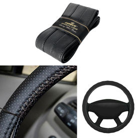 Carmate Car Black SG-12 Leatherette Car Steering Wheel Cover-All Cars