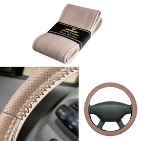 Carmate Car Beige SG-16 Leatherette Car Steering Wheel Cover-All Cars