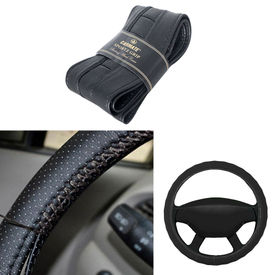 Carmate Car Black SG-18 Leatherette Car Steering Wheel Cover-All Cars