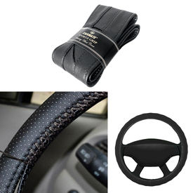 Carmate Car Black SG-17 Leatherette Car Steering Wheel Cover-All Cars