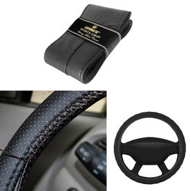 Carmate Car Black SG-11 Leatherette Car Steering Wheel Cover-All Cars