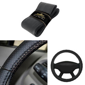 Carmate Car Black SG-16 Leatherette Car Steering Wheel Cover-All Cars