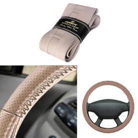 Carmate Car Beige SG-15 Leatherette Car Steering Wheel Cover-All Cars