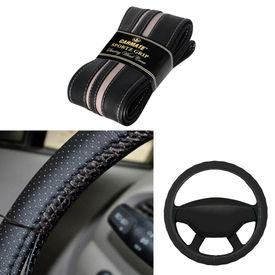 Carmate Car Black SG-14 Leatherette Car Steering Wheel Cover-All Cars