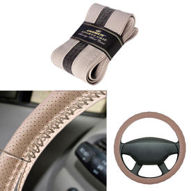 Carmate Car Beige SG-13 Leatherette Car Steering Wheel Cover-All Cars