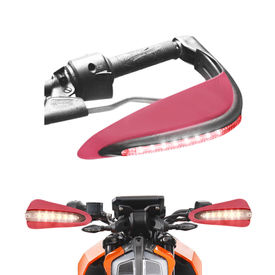 Speedwav Bike Red Hand Protector Guard with LED indicators Set of 2 For all Bikes