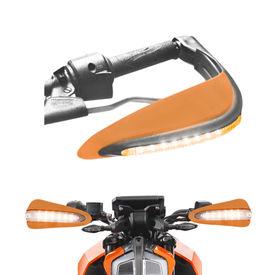 Speedwav Bike Orange Hand Protector Guard with LED indicators Set of 2 For all Bikes