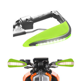 Speedwav Bike Green Hand Protector Guard with LED indicators Set of 2 For all Bikes
