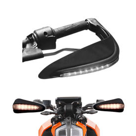 Speedwav Bike Black Hand Protector Guard with LED indicators Set of 2 For all Bikes