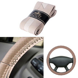 Carmate Car Beige SG-17 Leatherette Car Steering Wheel Cover-All Cars