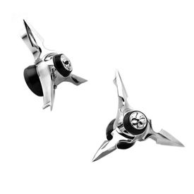 Accedre Black & Chrome Skull Spun Blade Spinning Front Axle Cap Set of 2 for Harley Davidson