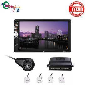 myTVS TAV-61 Double Din HD Touch Screen Car Stereo with TPK-57 White Car Reverse Video Parking Sensor Kit