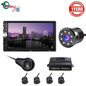 myTVS TAV-61 Double Din HD Touch Screen Car Stereo with TPK-57 Black Car Reverse Video Parking Sensor Kit and Night Vision Camera