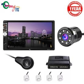 myTVS TAV-61 Double Din HD Touch Screen Car Stereo with TPK-57 White Car Reverse Video Parking Sensor Kit and Night Vision Camera