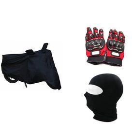 Bike Combo-Pro Biker Gloves (Red) + Face Mask + Bike Cover