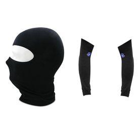 (Black) Biking Summer Combo - Face Mask Balaclava + Arm Sleeves