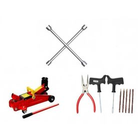 Combo of 4 Way Spanner + Hydraulic Trolly Jack + Tyre Puncture Kit