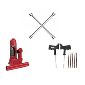 Combo of 4 Way Spanner+Hydraulic Jack BOTTLE Shaped+Tyre Puncture Kit