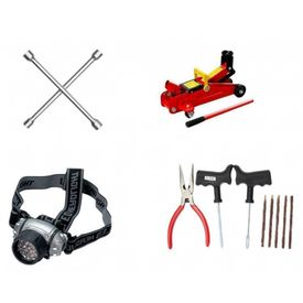 Combo of 4 Way Spanner+Hydraulic Trolly Jack+Tyre Puncture Kit+7 LED Headlamp