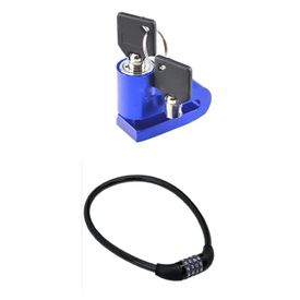 Combo of Motorcycle Disk Brake Wheel Lock + MultiPurpose Chain Cable Number Lock