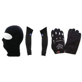 Combo Of Speedwav Universal Full Face Mask + Arm Sleeve + Riding Gloves