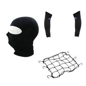 Combo Of Bike Cargo Bungee Net + Full Face Mask + Arm Sleeves