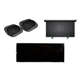 Sunshade Combo : Front Roller Black Sunshade + Side Window Black Stickon Sunshade (Set of 4) + Rear Window Sunshade Black
