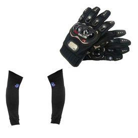 Combo of Universal Arm Sleeve & Bike Riding Gloves - Black Size XL