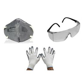 Combo of 3M Full Eye Cover Bike Goggles+Riding Gloves+Anti Dust Face Mask