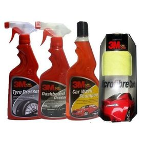 3M Car/Bike Care Kit Tyre Polish+Dashboard Polish+Shampoo+Wipe - Small