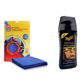 Combo of Meguiars Gold Class Leather Cleaner-450ml+Abro Microfiber Cloth