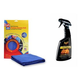 Combo of Meguiars Gold Class Leather Vinyl Cleaner-473ml+Abro Microfiber Cloth