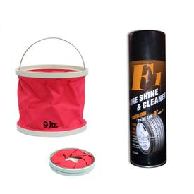 F1 Auto Tyre Shine and Cleaner-650ml+Foldable Water Bucket