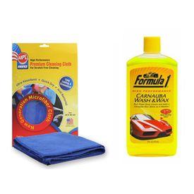 Formula 1 Car Bike Carnauba Wash & Wax Shampoo-473ml+Abro Microfiber Cloth